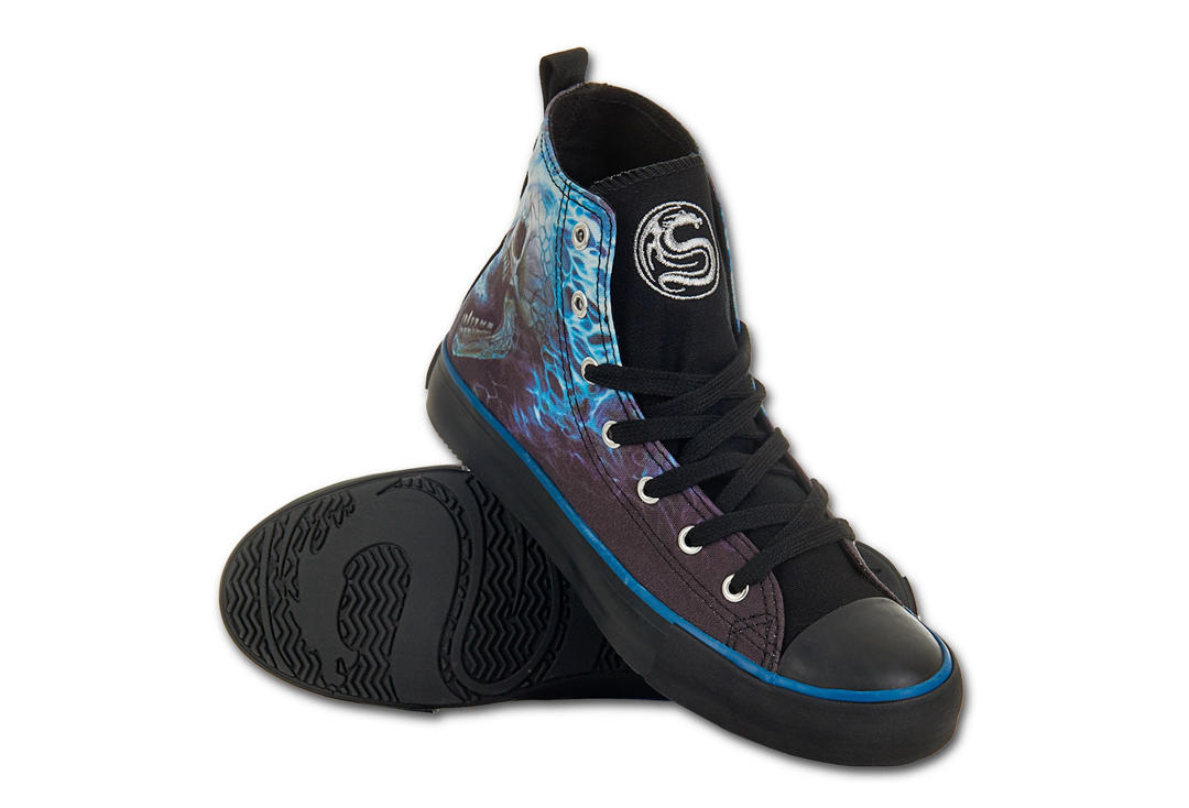 Spiral Direct | Flaming Spines Men's Lace Up High Top Sneakers