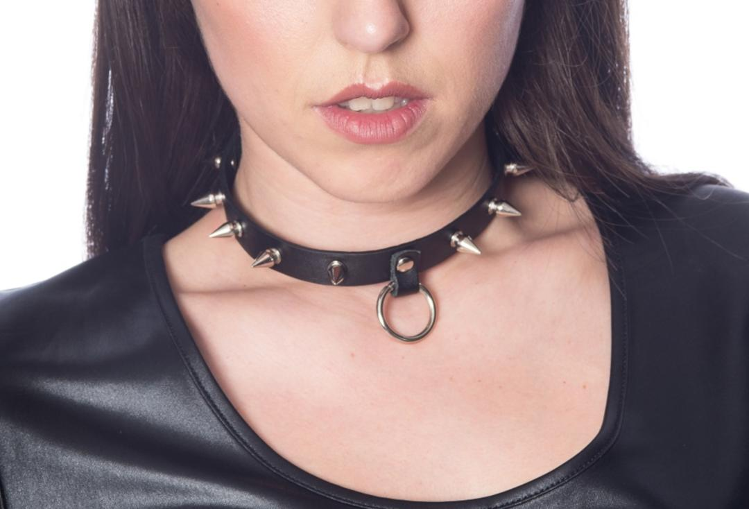 Banned | Lucifer Spike O-Ring Collar - Front View