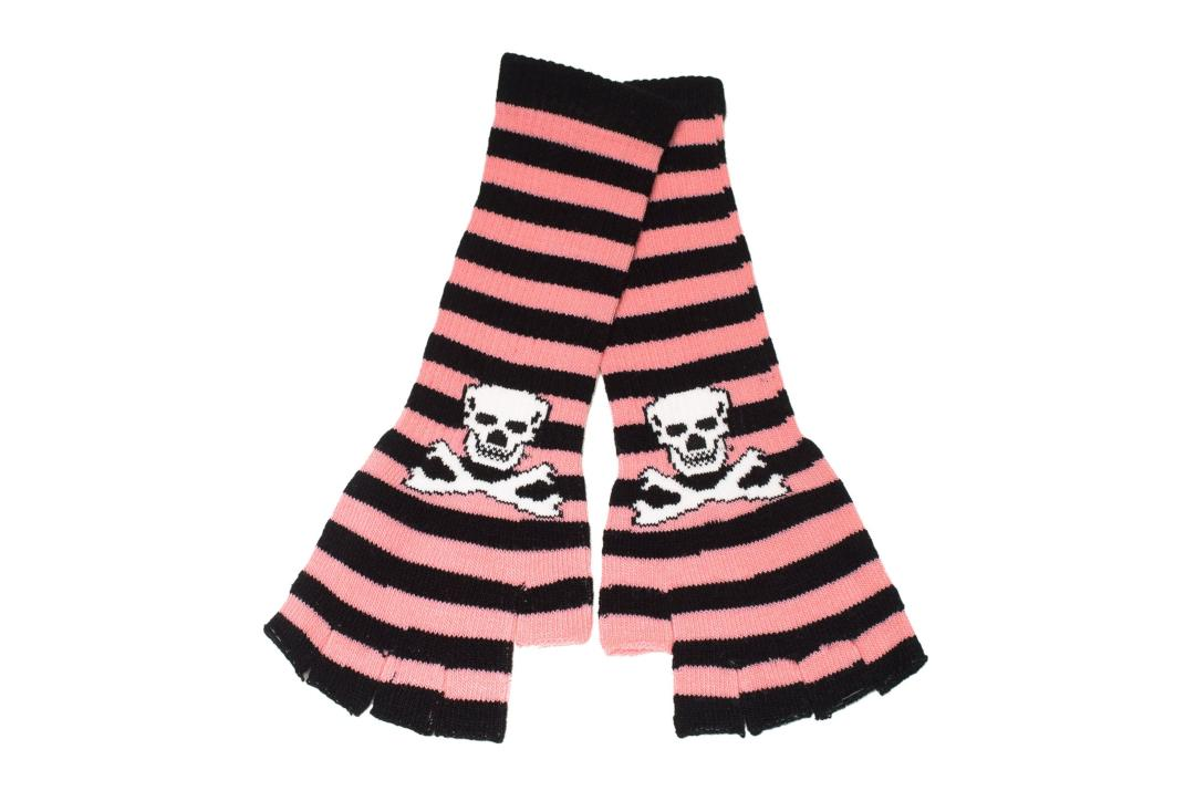 Zacharia | Baby Pink & Black Stripe Skull Finger-less Gloves