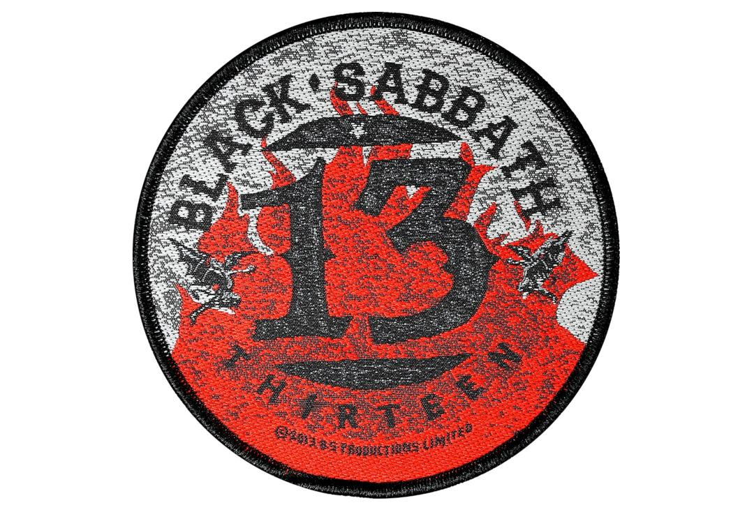 Official Band Merch | Black Sabbath - 13/Flames Circular Woven Patch