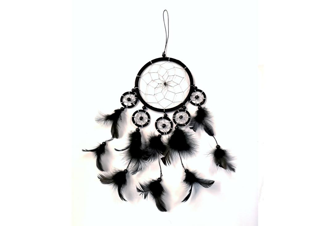 Void Clothing | Black Feather 5 Small Rings Dream Catcher