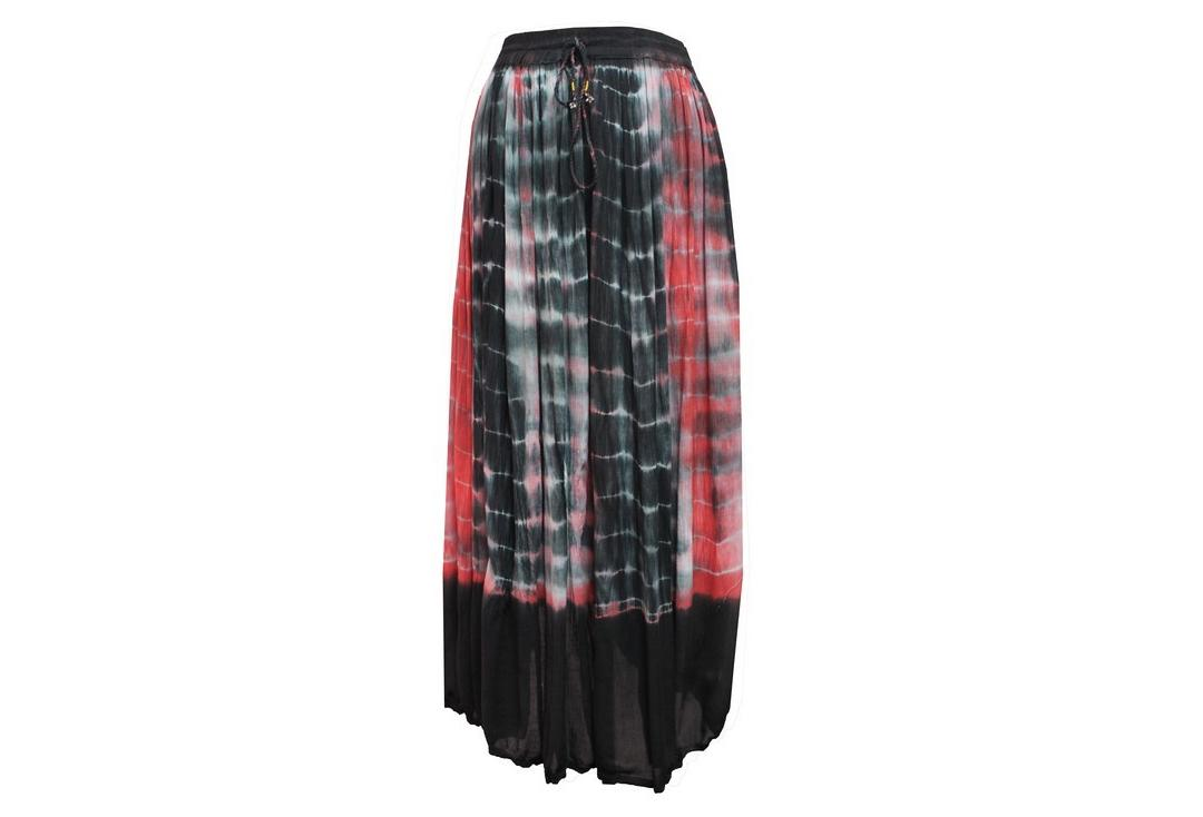 Void Clothing | Red, Black & White Tie-Dye Crinkle Skirt - Front