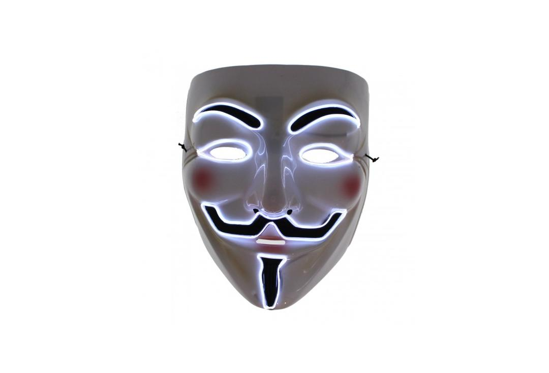 Void Clothing | Vendetta White LED Light Up Plastic Mask