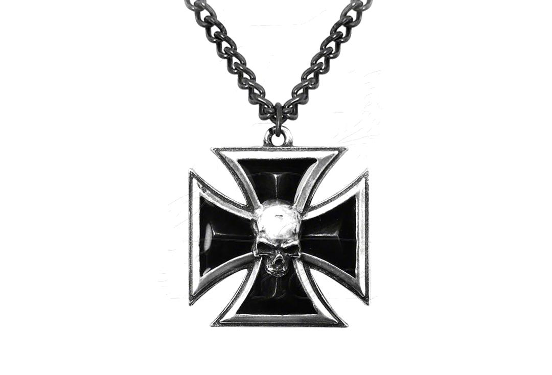 Alchemy Gothic | Black Knights Cross Pendant - Close Up