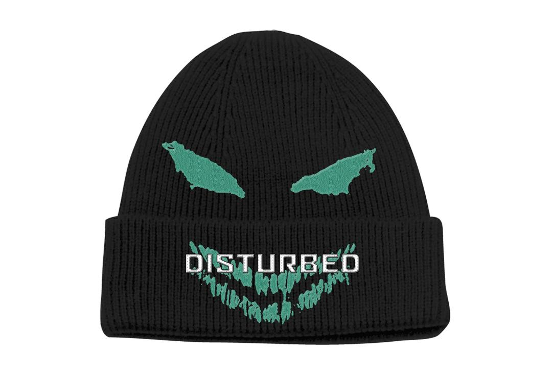 Official Band Merch | Distured - Green Eyes Embroidered Knitted Folded Beanie Hat