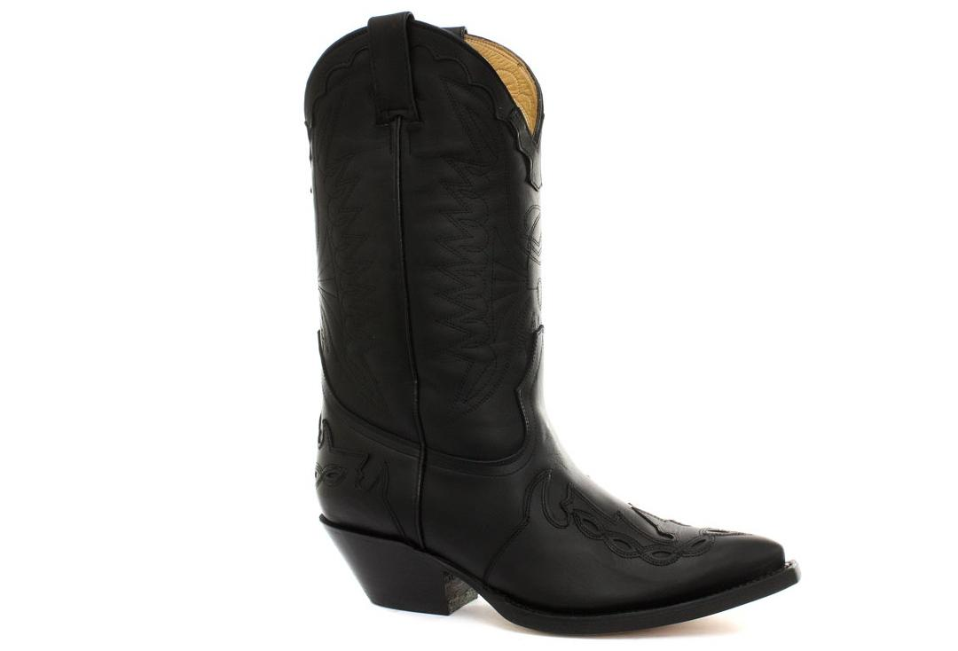 Grinders | Arizona Grinders Women's Black Leather Cowboy Boots - Side