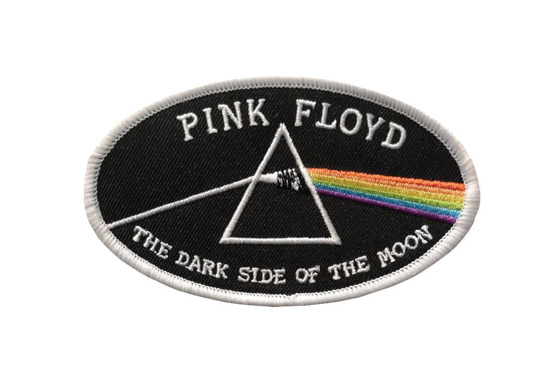Official Band Merch | Pink Floyd - The Dark Side Of The Moon White Oval Woven Patch