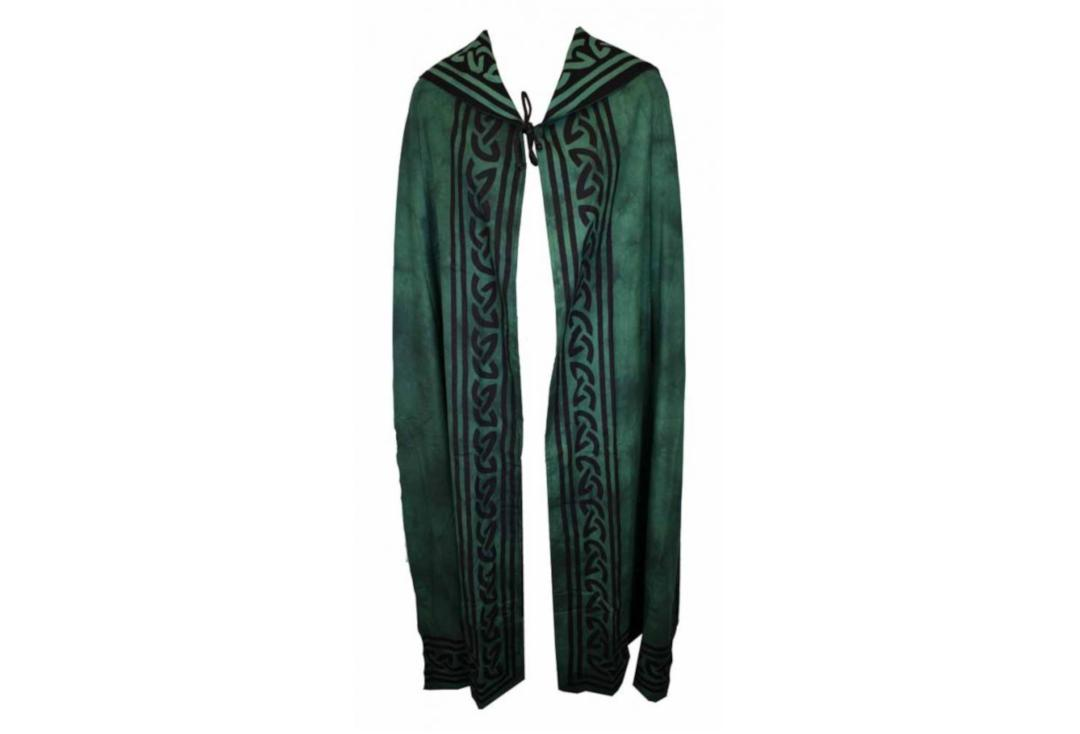 Darkstar | Green Celtic Reversible Full Length Cotton Hood Cape - Front