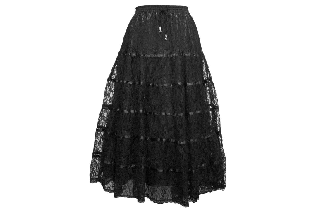 Darkstar By Jordash | Black Lace Tiered Skirt