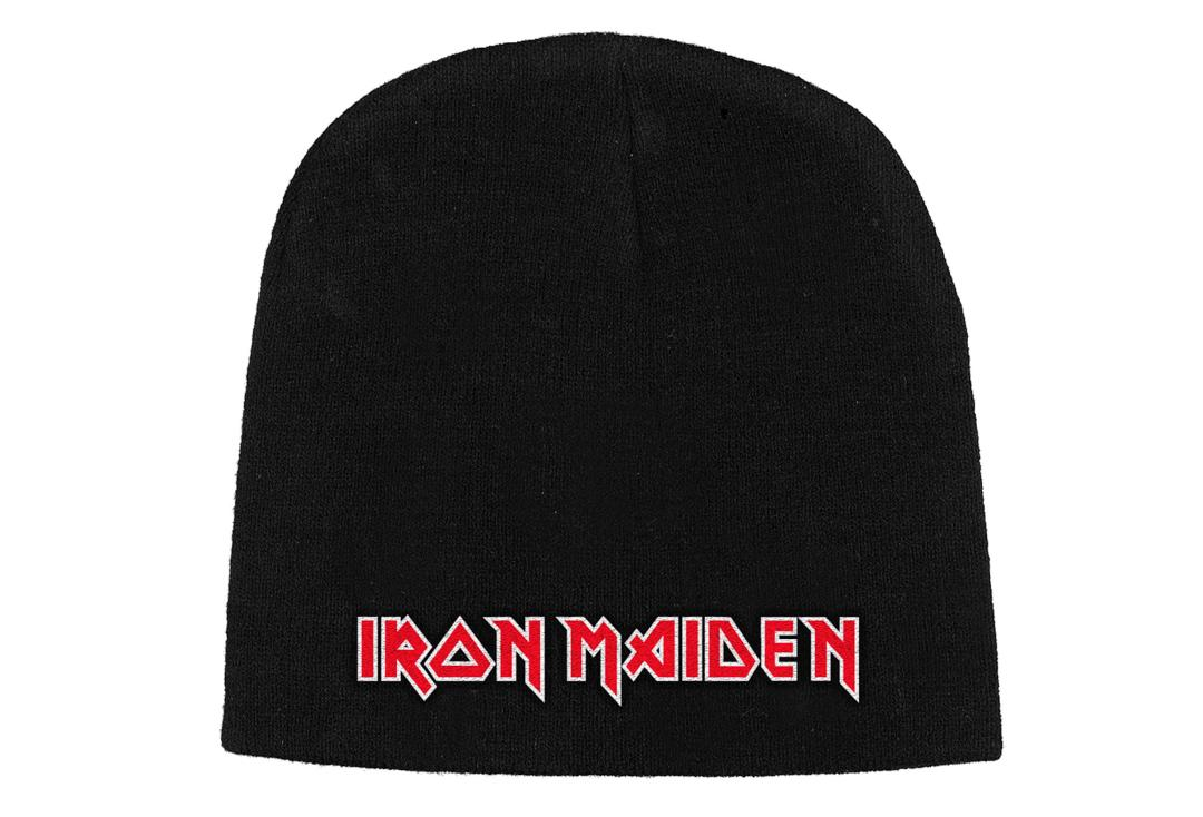 Official Band Merch | Iron Maiden - Flat Logo Embroidered Knitted Beanie Hat