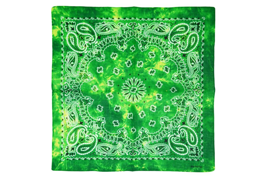 Void Clothing | Bright Green Shaded Retro Paisley Cotton Bandana