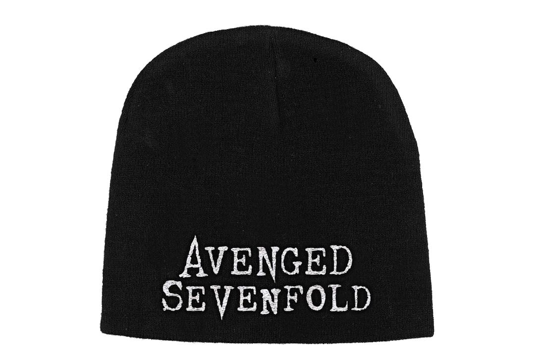 Official Band Merch | Avenged Sevenfold - White Logo Embroidered Knitted Beanie Hat