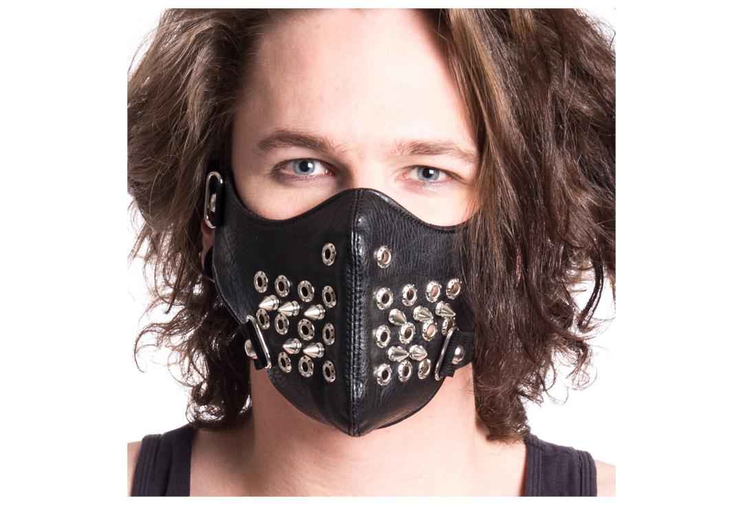Poizen Industries | Black Spike & Eyelet Face Mask - Modelled