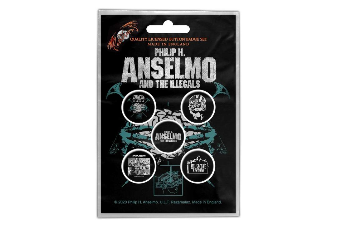 Official Band Merch | Philip H. Anselmo & The Illegals - Brain Button Badge Pack