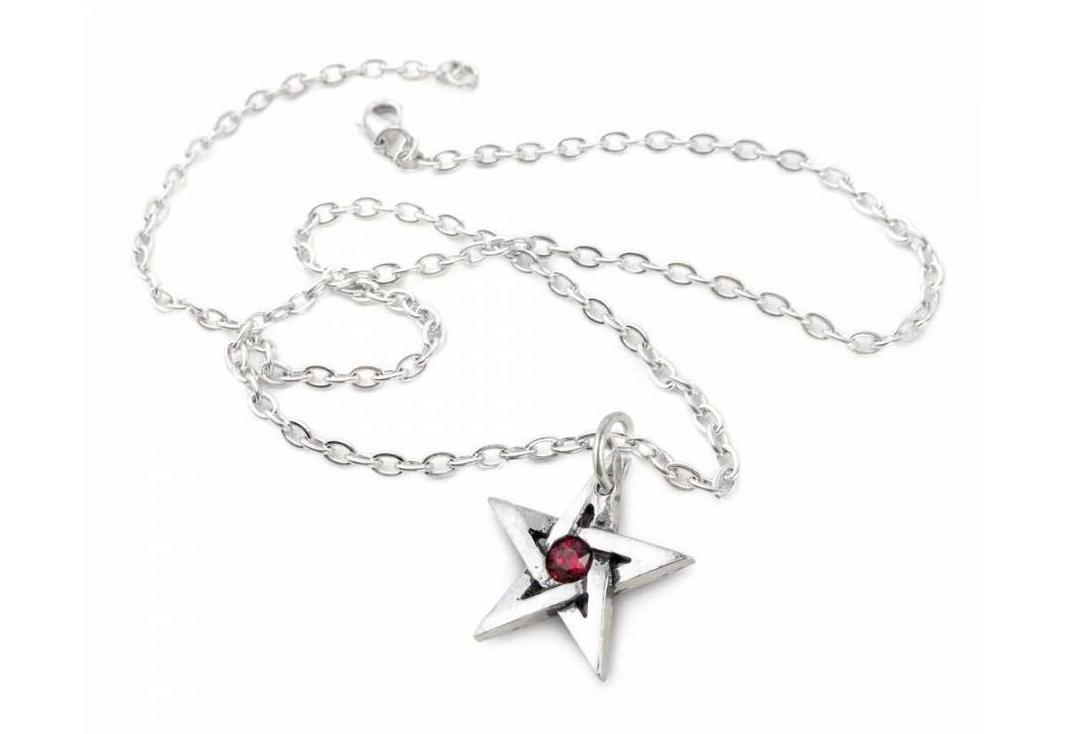 Alchemy Gothic | Crystal Pentagram Pendant - With Chain