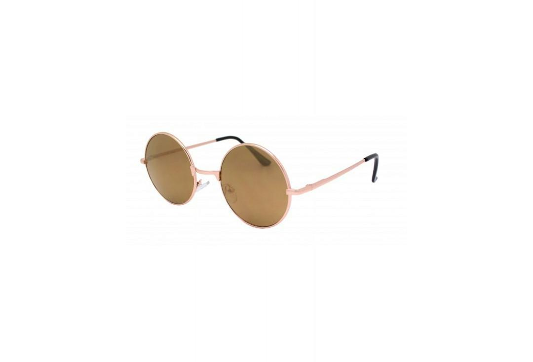 RayFlector | Brown Mirror & Rose Gold Frame Round Lennon Sunglasses