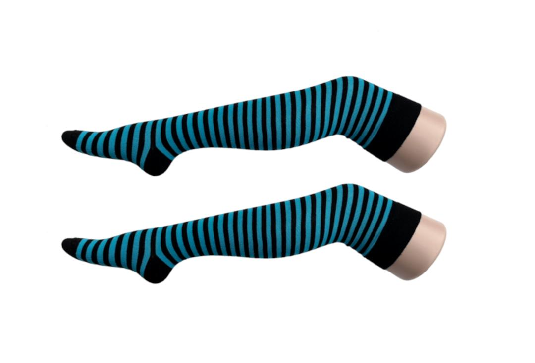Macahel | Turquoise & Black Thin Stripe Over The Knee Socks