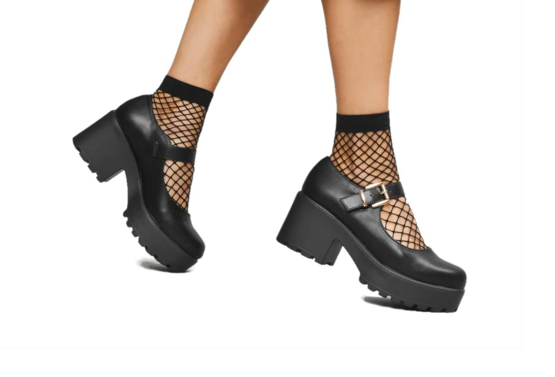 Koi Footwear | Tira Classic Black Mary Jane Shoes - Modelled