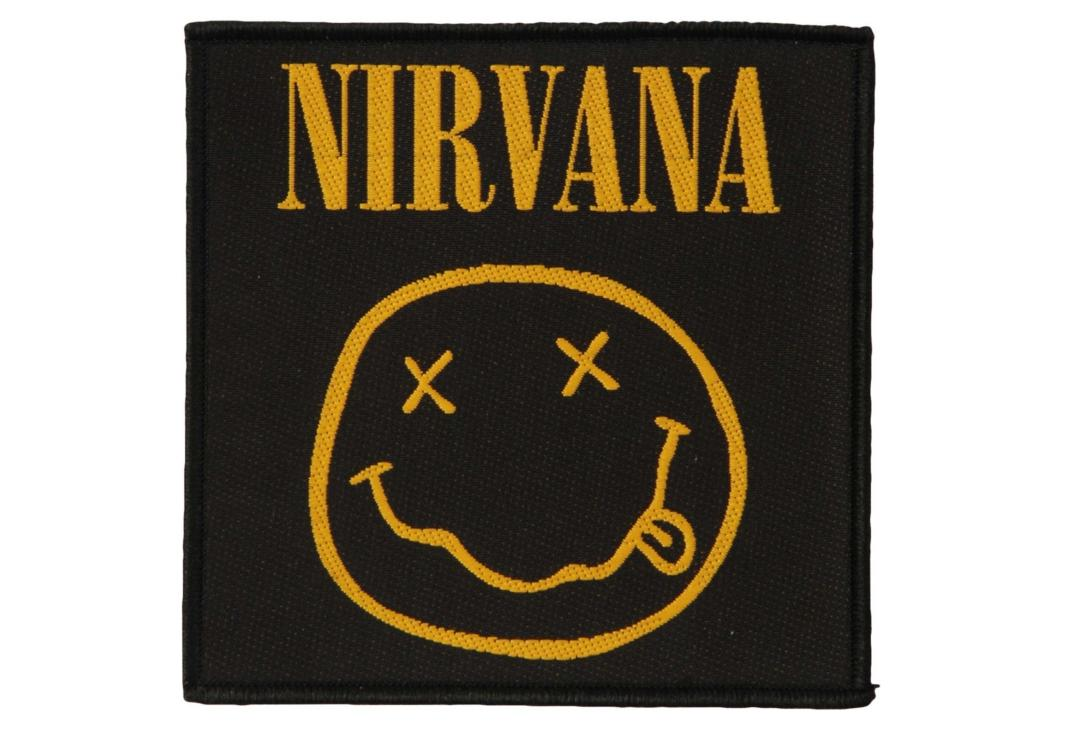 Official Band Merch | Nirvana - Smiley Woven Patch