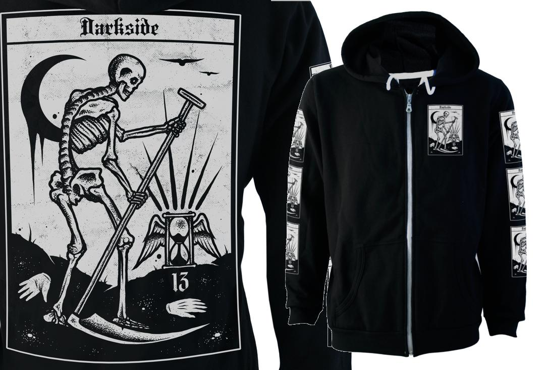 Darkside | Death Tarot Fleece Lined Unisex Zip Hood  - Front & Back