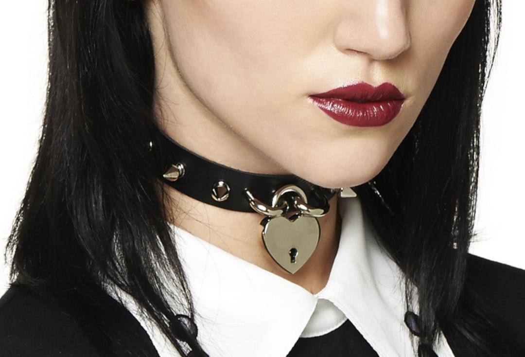 Banned | Bellatrix Black Studded Padlock Collar - Front View