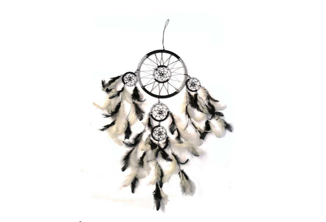 Void Clothing | Black & Silver Feather Multi Ring Dream Catcher