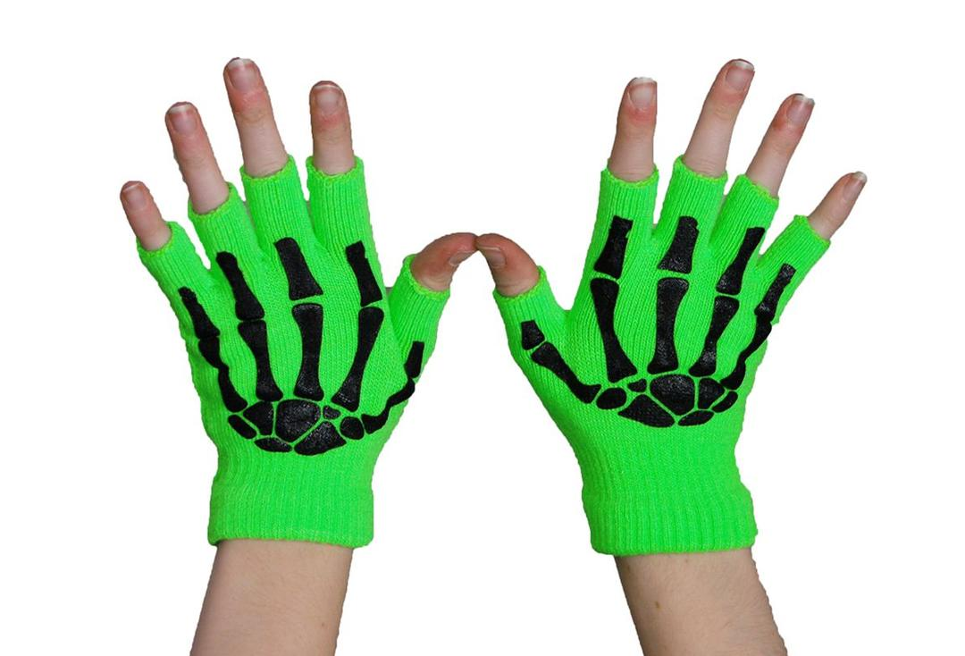 Poizen Industries | Green & Black Finger-less Skele Gloves