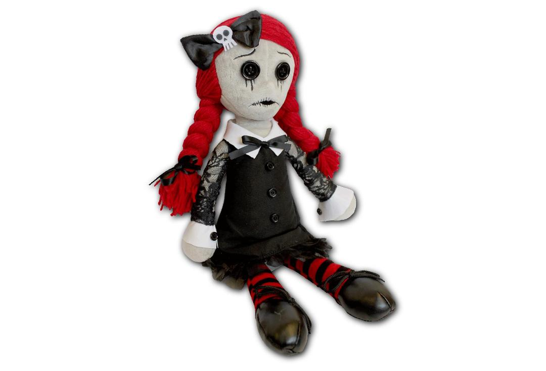 Spiral Direct | Luna The Goth Rag Doll Plush Toy - Sat Down