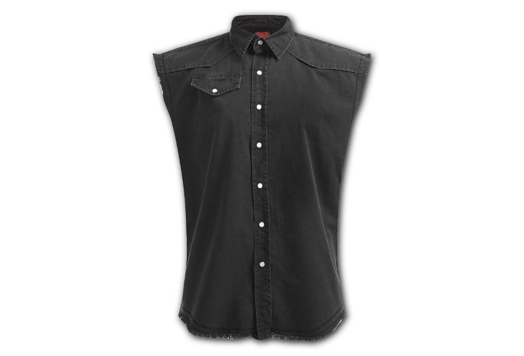 Spiral | Plain Black Sleeveless Workshirt - Front