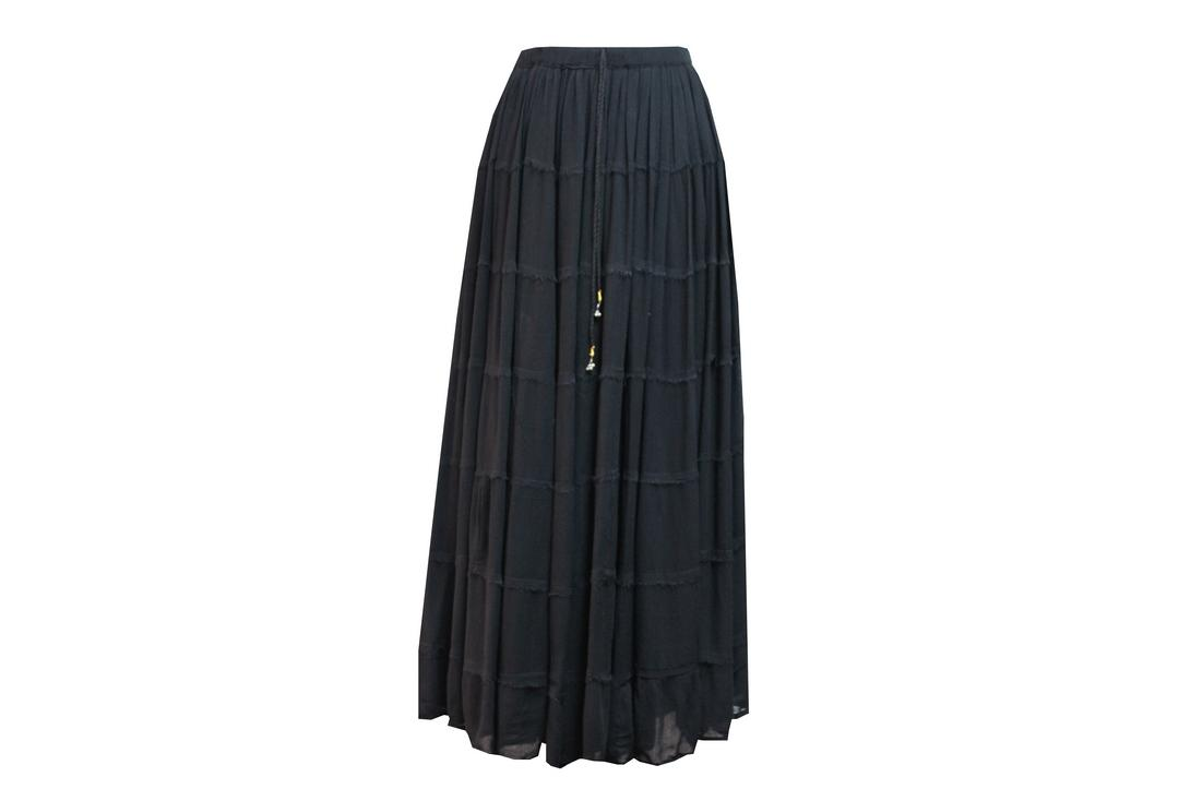 Void Clothing | Black Hippy Crinkle Skirt - Front