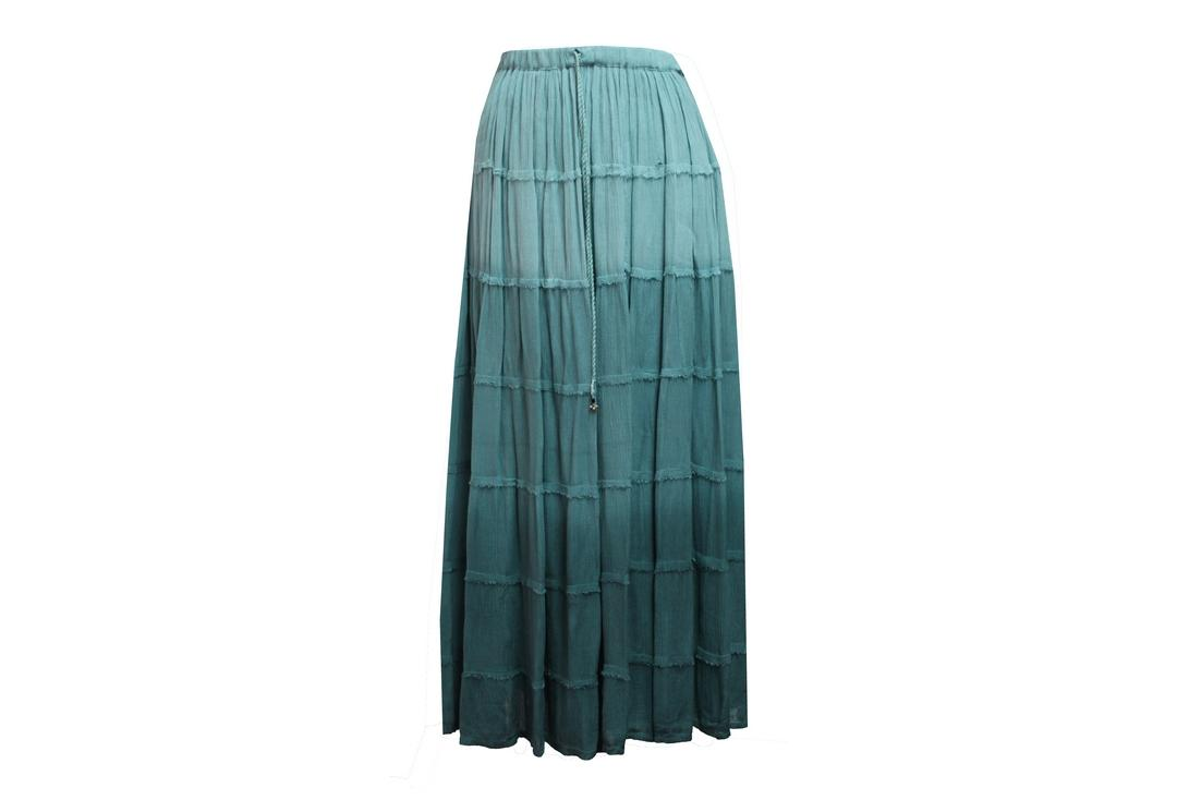 Void Clothing | Teal Fade Hippy Tiered Crinkle Skirt - Front