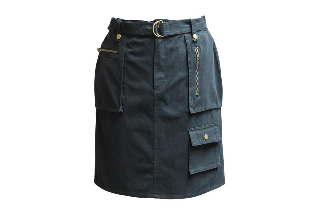 Void Clothing | Black Short Combat Pocket Skirt - Front