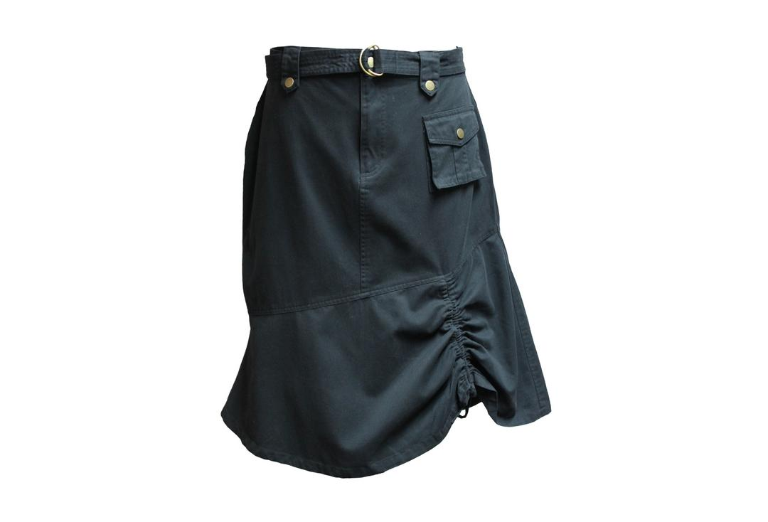 Void Clothing | Black Long Combat Pocket Skirt - Front