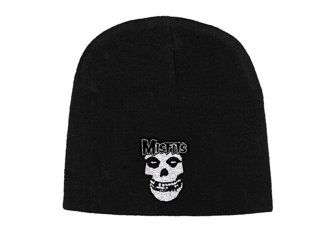 Official Band Merch | Misfits - Logo & Fiend Embroidered Knitted Beanie Hat