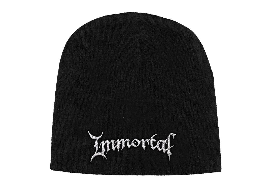 Official Band Merch | Immortal - Logo Embroidered Knitted Beanie Hat