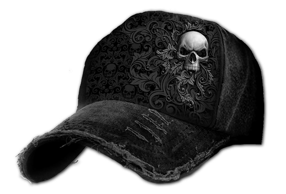 Spiral Direct | Skull Scroll Distressed Baseball Cap - Close Front Side