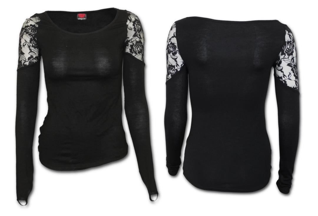 Spiral Direct | Long Sleeve Lace Shoulder Gothic Elegance Top (Black)