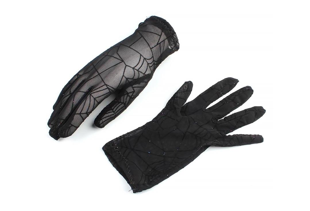 Banned Apparel | Black Widow Cobweb Gloves