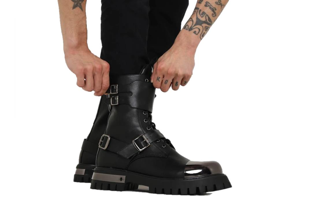 Koi Footwear | Desolation Gunmetal Combat Boots - Modelled