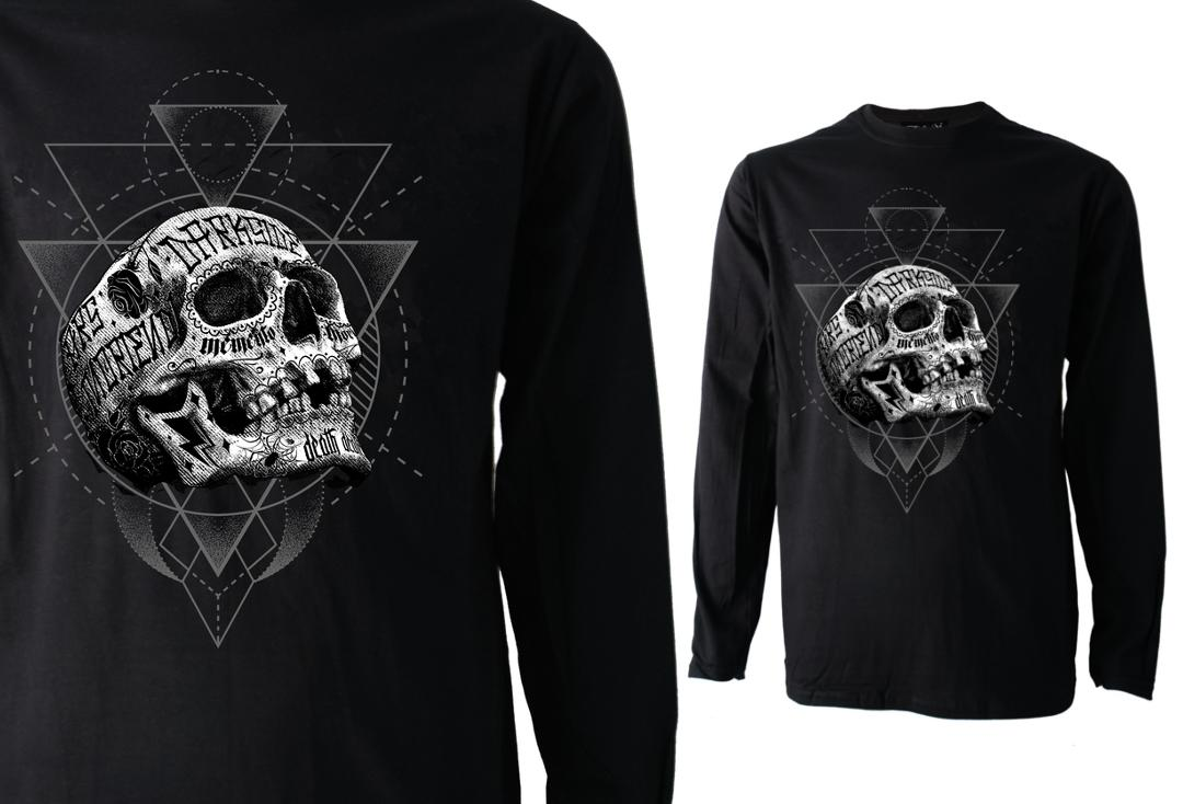 Darkside | Inked Skull Long Sleeve Men's Tee