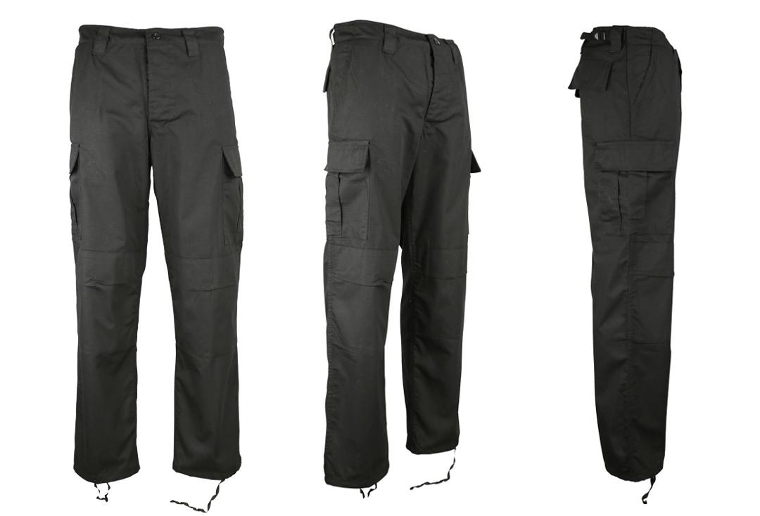 Kombat | Black Rip-Stop Cargo Combat Trousers - Front