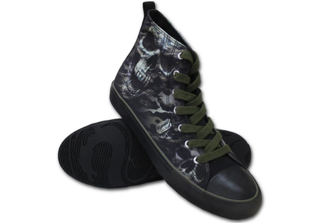 Spiral Direct | Camo Skull Men's Lace Up High Top Sneakers