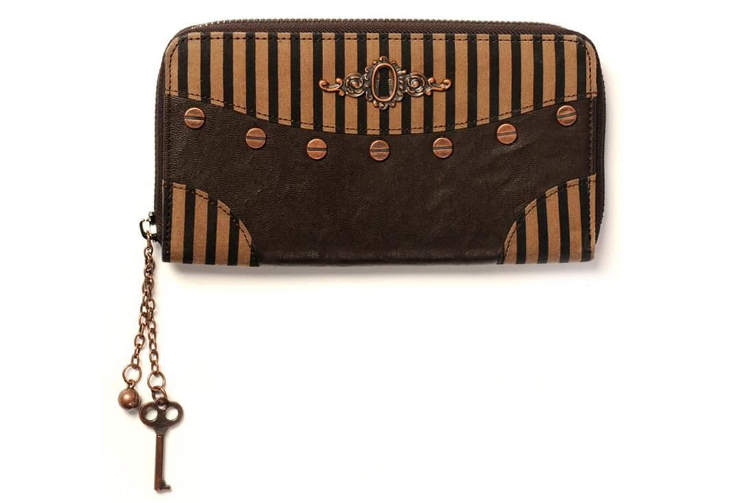 Banned Apparel | Brown Stripe Steampunk Purse - Front