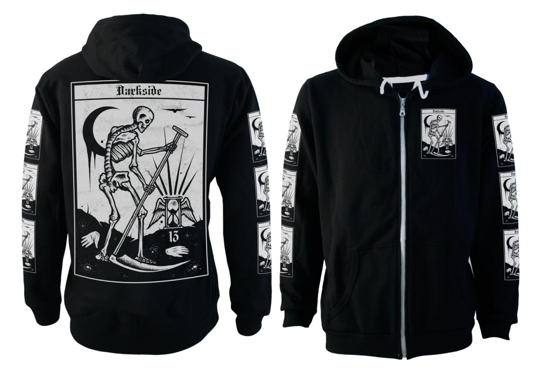 Darkside | Death Tarot Fleece Lined Unisex Zip Hood  - Front & Back Plain
