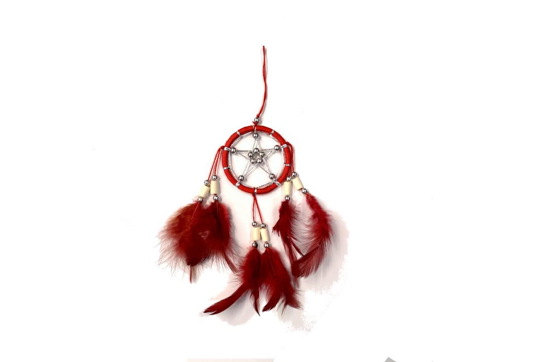 Void Clothing | Red Feather Small Pentagram Dream Catcher