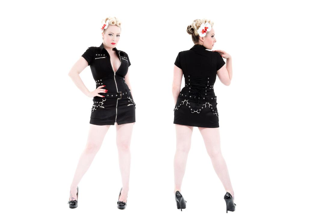 Hearts & Roses | Black Buckle 0321 Punk Dress - Full View