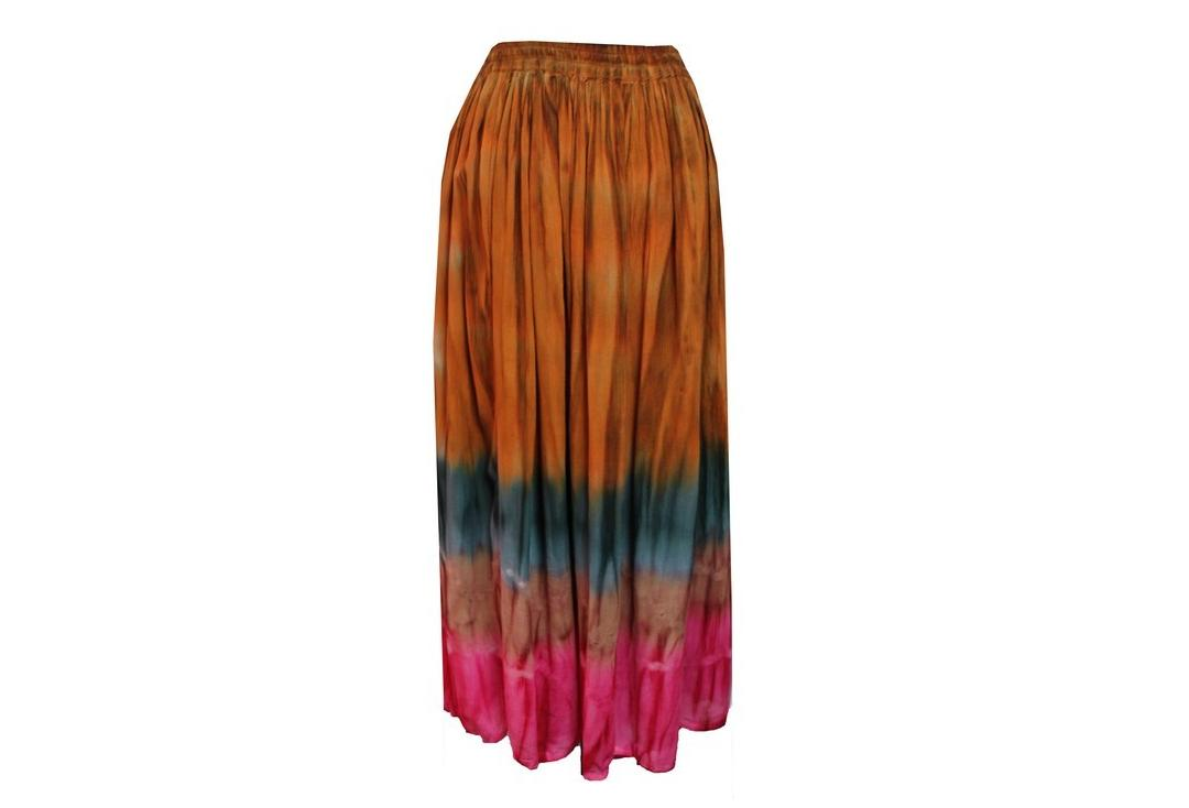 Void Clothing | Muted Quad Colours Dip-Dye Crinkle Skirt - Back