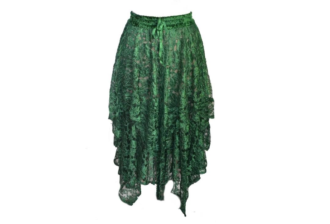 Darkstar By Jordash | Green Brocade Lace Irregular Hem Skirt