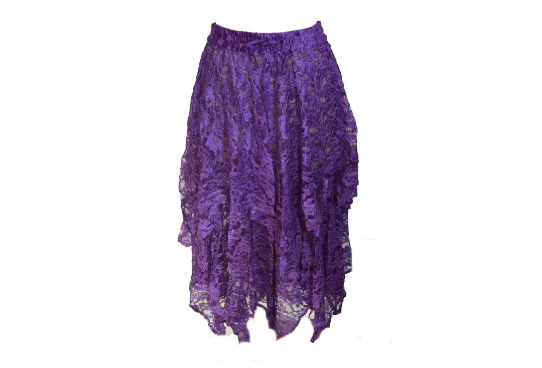 Darkstar By Jordash | Purple Brocade Lace Irregular Hem Skirt