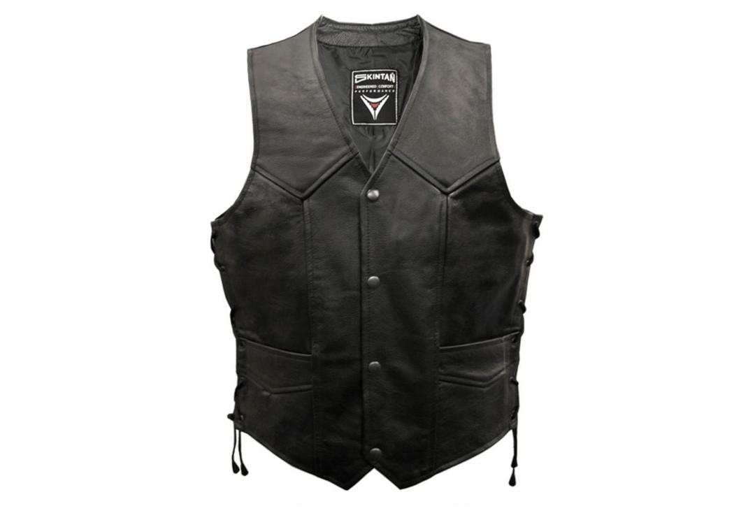 Skintan Leather | Black Leather Men's Lace Side Waistcoat - Front